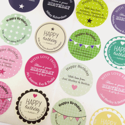 Personalised gift stickers